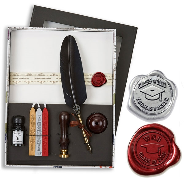 Vintage Wax Seal Writing Set with Black Quill Pen, Ink, Pen Stand, Stationery & Sealing Wax- Choice of Monogram