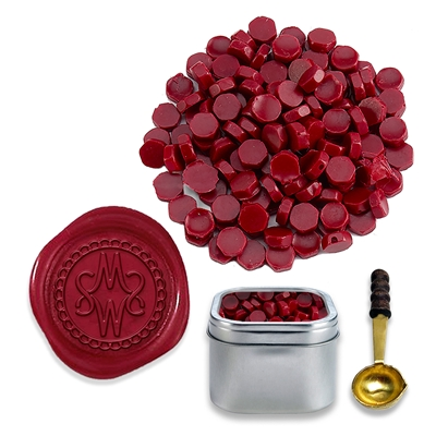 Burgundy Sealing Wax Beads by Color - 2oz in Tin