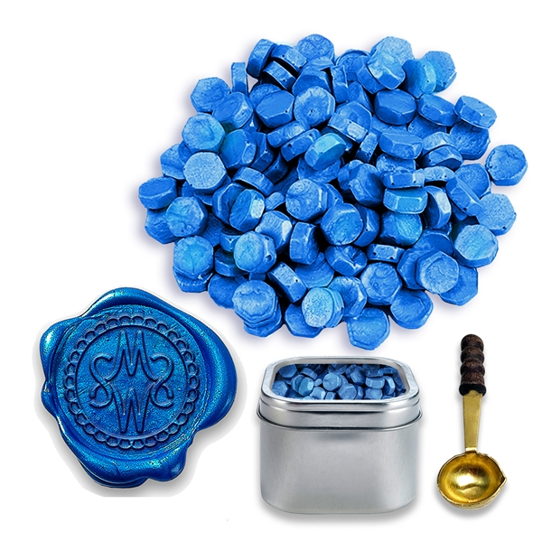 Cobalt Blue Pearl Sealing Wax Beads by Color -2oz in Tin