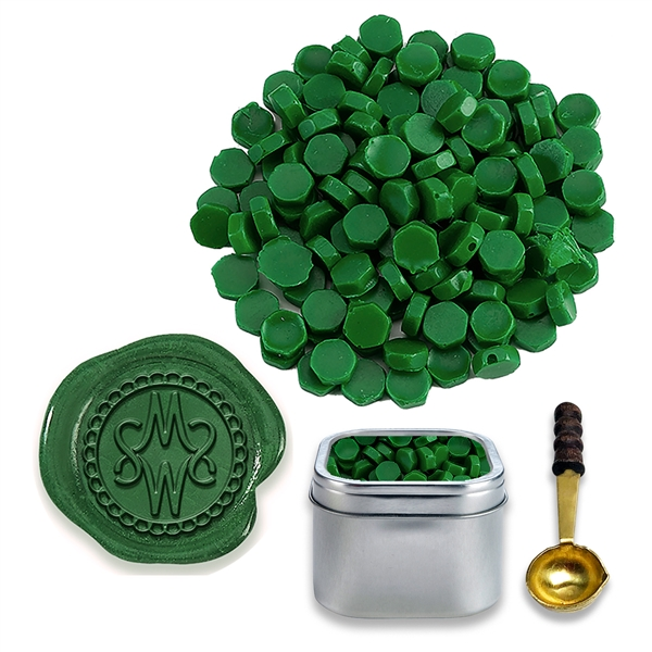 Forest Green Sealing Wax Beads by Color -2oz in Tin