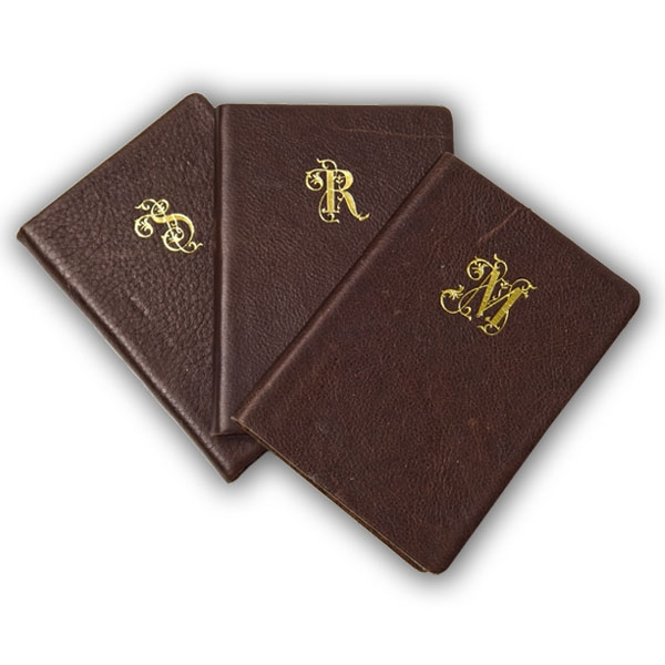 "Leather Pocket Notebook Gold Foil Monogrammed -3x5""-Made in Italy"