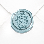 "Initial Wax Seal Stickers 50PK- 1 1/4"" round - Shelley Floral Sheild"