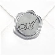 "Adhesive Initial Wax Seals Stickers 50PK-Handpressed - 1"" round -Shelley Script font"