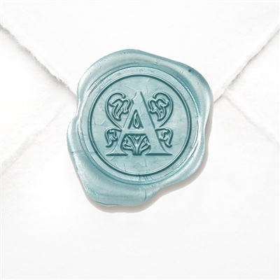 "Adhesive Initial Wax Seals Stickers 50PK-Handpressed - 1"" round - Cappolettera"