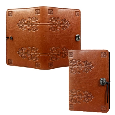 Refillable Embossed Leather Journal-Da Vinci Saddle