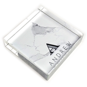 Chevalier Initial & Name Glass Paperweight-square