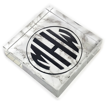 Customizable Circle Monogram Glass Paperweight-square