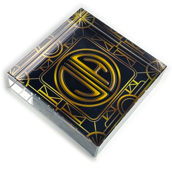 Customizable Great Gatsby Monogram Glass Paperweight-square