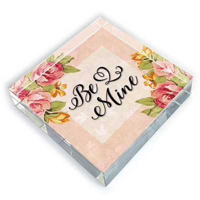 Valentine Be Mine Glass Paperweight-square
