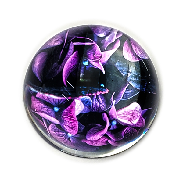 Violets Glass Paperweight-Round