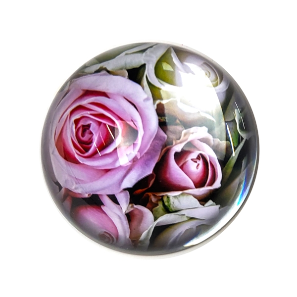 Pink Roses Glass Paperweight-Round