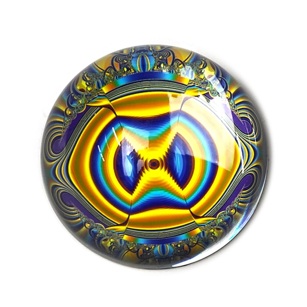 Kaleidoscope 2 - Blue Glass Paperweight-Round