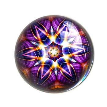 Kaleidoscope 1 - Purple Glass Paperweight-Round