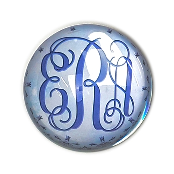 Tiffany Monogram (Blue) Glass Paperweight-Round