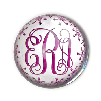 Tiffany Monogram (Pink) Glass Paperweight-Round