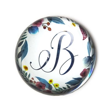Floral Wreath Initial Glass Paperweight-Round