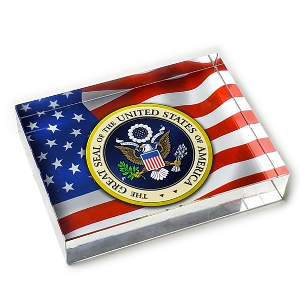 Seal of the United States Glass Paperweight-Rectangle