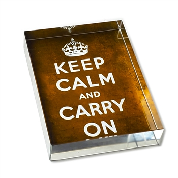 Keep Calm/Carry On Glass Paperweight-Rectangle