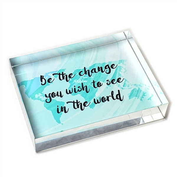 Be the Change Glass Paperweight-Rectangle