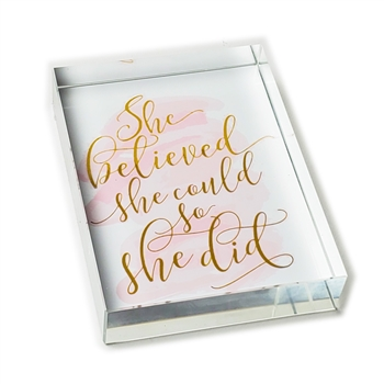 She Believed Glass Paperweight-Rectangle