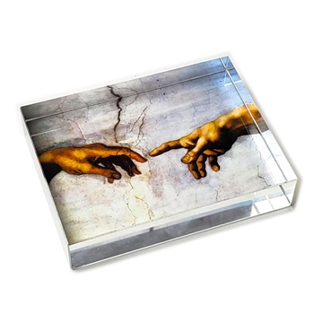 Michaelangelo's Touching Hands Glass Paperweight-Rectangle