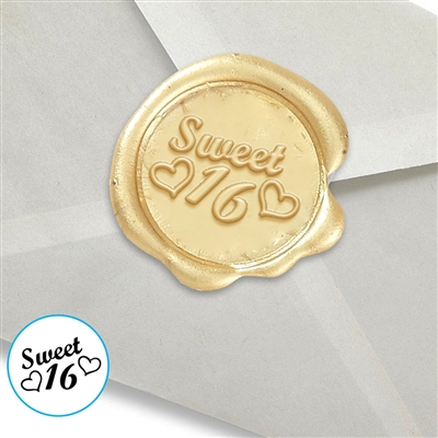 "Wax Seal Stickers-50PK- 1""- Sweet Sixteen with hearts"