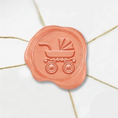 "Wax Seal Stickers-50 Stickers-50PK- 1""-Stroller Antique-Pram"