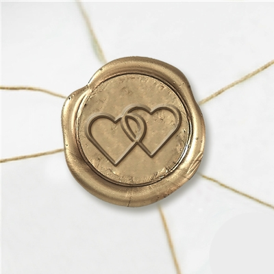 Two Hearts Wax Seal Stickers-50PK- 1""