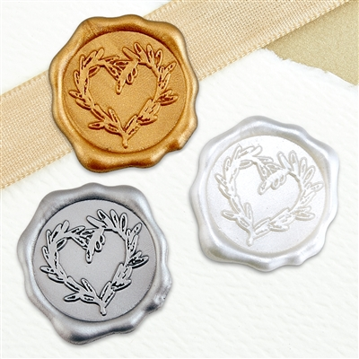 "Adhesive Wax Seal Stickers 25PK - 1"" Branch Heart"