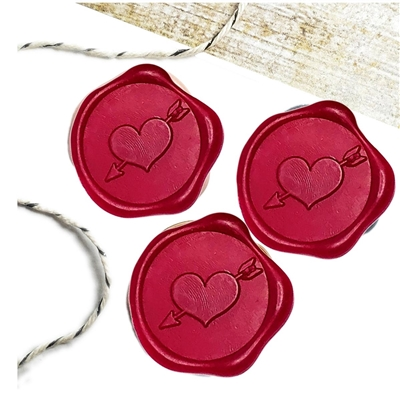 "Adhesive Wax Seal Stickers 25PK - 1"" Heart/Arrow"