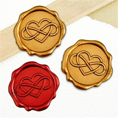 "Adhesive Wax Seal Stickers 25PK - 1"" Infinity Heart"