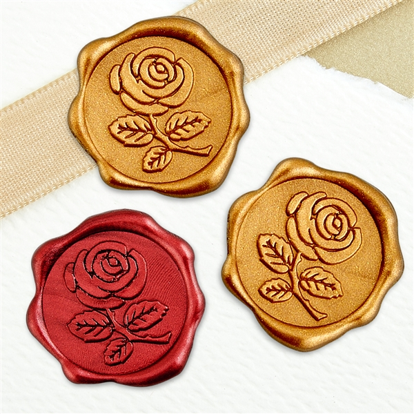 "Adhesive Wax Seal Stickers 25PK - 1"" Rose"