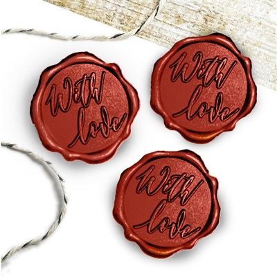 "Adhesive Wax Seal Stickers 25PK - 1"" With Love"