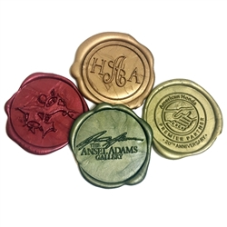 Self Adhesive Logo Wax Seals 50PK Bundle with Stamp- Hand Pressed Size 1 5/8""