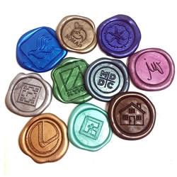 "Adhesive Logo Wax Seal Stickers 50PK Bundle with Stamp-- Hand Pressed 1"" Round or Square"