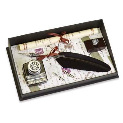 Pen & Ink Set -Pewter with Ink Blotter & Nibs