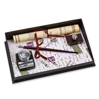 Wood Pen & Ink Set -Wood Stylus Nib Pen  with Ink, Blotter & Nibs